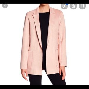 Philosophy suede open front blazer pink large